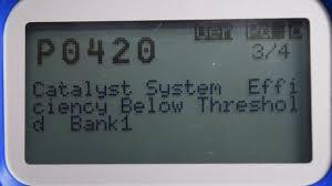 lexus es300 p1135 code p0420 catalyst efficiency below threshold bank 1 emissions