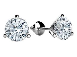 diamond stud earings 0 65 carat t w brilliant cut white gold diamond stud