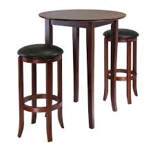Black Bistro Table And Chairs Round Dark Brown Wooden Table With Four Tall Legs Added By Double