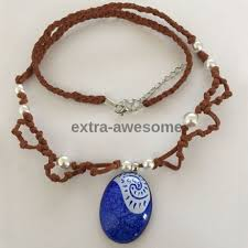princess necklace with pendant images Princess moana hand painted blue stone pendant handmade w leather jpg