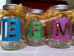 diy glitter letter mason jars initials projects to try