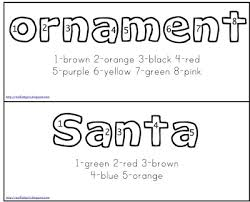 free christmas color number words