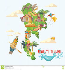 Wyoming Travel Icons images Travel thailand landmarks with thailand map and ocean thai vector jpg