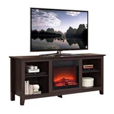 electric wood 58 u2033 fireplace ample storage space media stand tv to