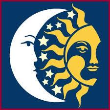 celestial sun crescent moon and stencil sun