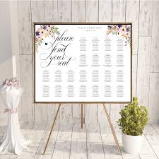 wedding table assignment board floral seating chart wedding guest list table assignment editable