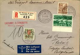 bureau de post switzerland 1937 ler bureau de poste automobile registered airmail