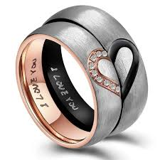 couples rings heart images Matching heart couple promise rings titanium stainless wedding jpg