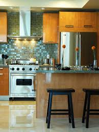 Contemporary Kitchen Backsplash by Sparkling And Glossy Glass Tiles For Unique Kitchen Backsplash In