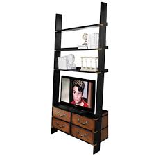 Leaning Ladder Bookcase by Leaning Wall Shelf And Tv Stand With Four Traditional Drawers