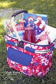 themed gift basket picnic themed summer gift basket patriotic white and blue for