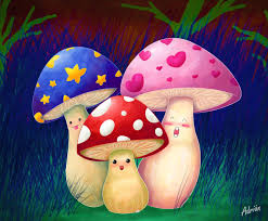 misc cute mushroom spring hearts colorful paintings grass pink