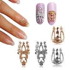 10pcs 3d glitter alloy hollow out nail art sticker slices charm