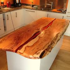 Natural Wood Kitchen Island by Kitchen Island With Live Edge Yew And Dark Amber Resin By Green