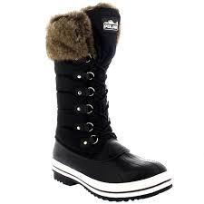 womens quilted boots uk womens warm side zip fur duck muck lace up winter
