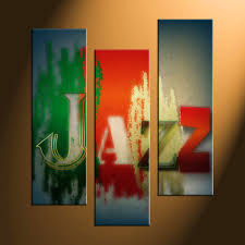 3 piece colorful jazz music canvas photography
