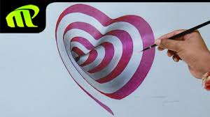 drawing a 3d heart hole 3d trick art drawing on paper youtube