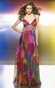 colorful dress flaunt colorful print chiffon beaded prom dress 8801 by mori