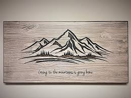 rustic wood artwork mountain wood wall wooden mountain sign wood