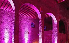 desain warna gapura gambar arsitektur malam ungu pedalaman lengkungan pilar