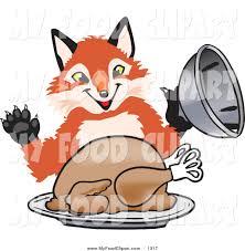 cartoon images of thanksgiving turkey food clip art of a hungry orange fox mascot cartoon character