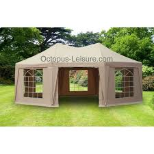 gazebo heavy duty gazebo heavy duty 5m x 6 80m octagonal taupe octopus leisure