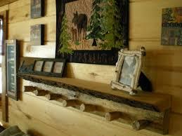 handmade log coat rack bark shelf combo wood coat rack shelf
