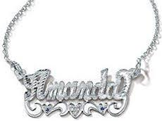 Nameplate Necklaces White Gold Birthstone Nemeplate Necklace