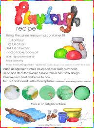 printable playdough recipes handmade preschool playdough recipe poster