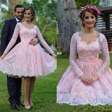 2017 vintage blush pink wedding dress long sleeve lace wedding