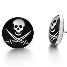 skull stud earrings biker mens stainless steel skull stud earrings