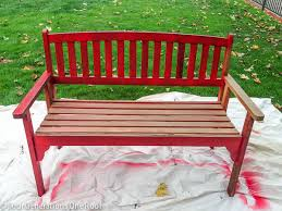Bench 8 How To Paint A Red Bench Bench Makeover Four Generations One Roof