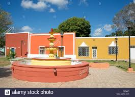 Painted Houses Fountain And Colourful Restored Painted Houses Valladolid Yucatan