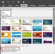 applying themes in powerpoint word and excel 2016 for windows