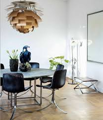 contemporary dining room using modern furniture and golden