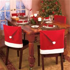 santa claus cap chair cover christmas dinner table party red hat