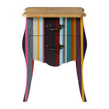 comodini e ã moderni comodino multicolore a righe in legno di paulonia l 45 cm neon