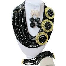 necklace set crystal images Laanc 10 rows 3 corsage black crystal 6mm african beads jewelry jpg