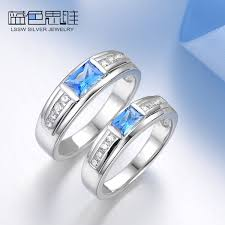 blue promise rings images Blue sweet couple rings princess cut blue topaz promise rings jpg