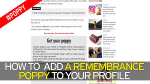 how to add a remembrance poppy to your facebook or twitter profile