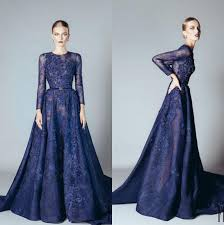 Formal Gowns Elie Saab 2016 Blue Beaded Appliques Long Sleeve Evening Dresses