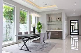 Tray Ceiling Dining Room - bedroom bar dining room contemporary with pendant lighting
