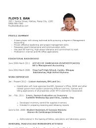 Best Profile Summary For Resume Sample Resume For Fresh Graduates Further Education Business