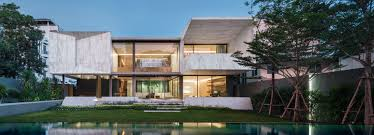 intertwines architecture and landscape with marble house in thailand
