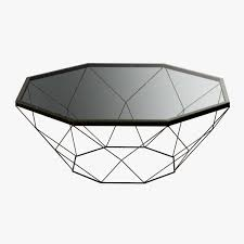 geometric antique brass coffee table with glass top 3d model max