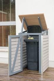 mülltonnenbox selber bauen endzustand mit offenem deckel und tür