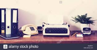 Office Table Front View Retro Office Desk Front View Stock Photo Royalty Free Image