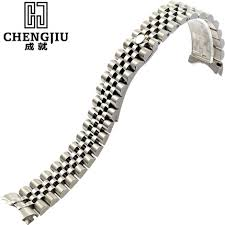 silver rolex bracelet images Mens 39 curved interface steel watch strap for rolex for datejust jpg
