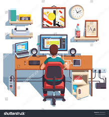 professional designer working on site project stock vector