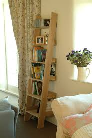 Narrow Ladder Bookcase by High Quality Oak Shelf Ladder Bookshelf Media Storage Display Unit